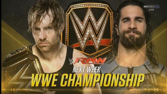 Большой матч за титул чемпиона WWE назначен на следующее RAW