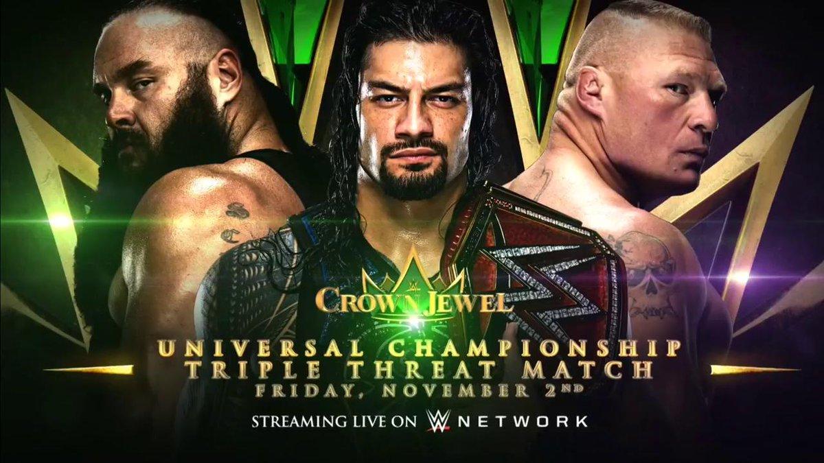 Матч за чемпионство Вселенной WWE анонсирован на WWE Crown Jewel