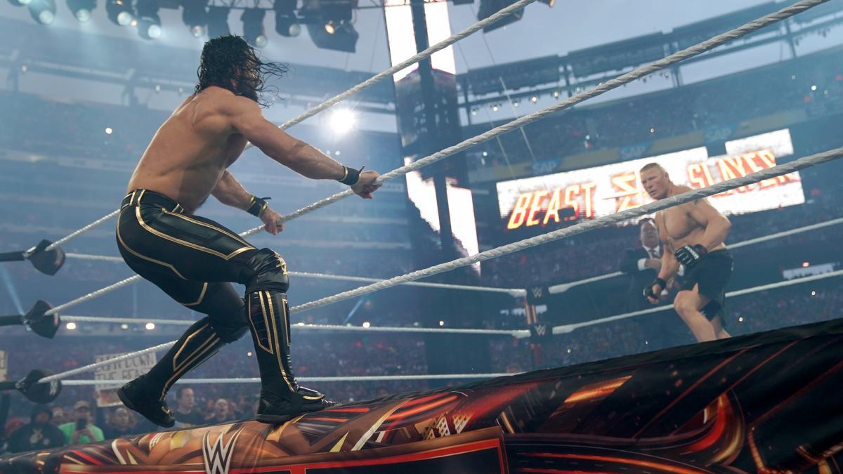 Какое место в карде WrestleMania 35 первоначально занимал бой Брока Леснара и Сэта Роллинса?